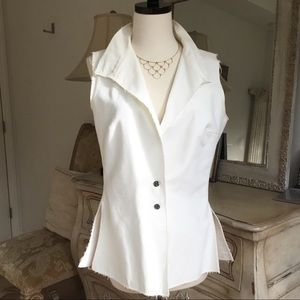 Authentic Chanel White Cotton Vest raw edges